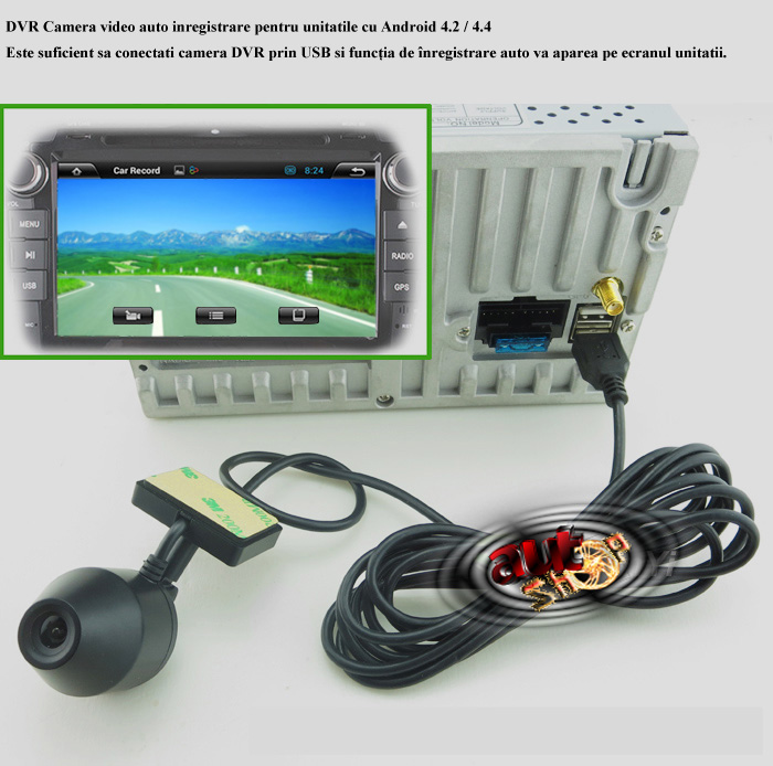 dvr camera inregistrare trafic pentru unitatile cu sistem de operare android 4.2 4.4 caraudiomarket