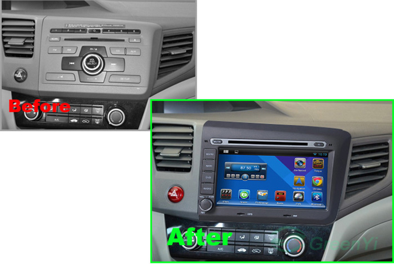 Navigatie cu Android Honda Civic 2012 2013 cu radio dvd bluetotoh gps igo waze pastrare comenzi volan caraudiomarket