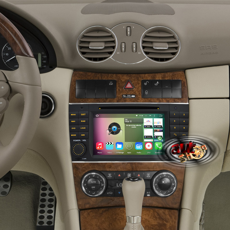 navigatie dedicata mercedes w203 w209 w219 cu android radio bluetooth pastrare comenzi volan acces internet multimedia caraudiomarket