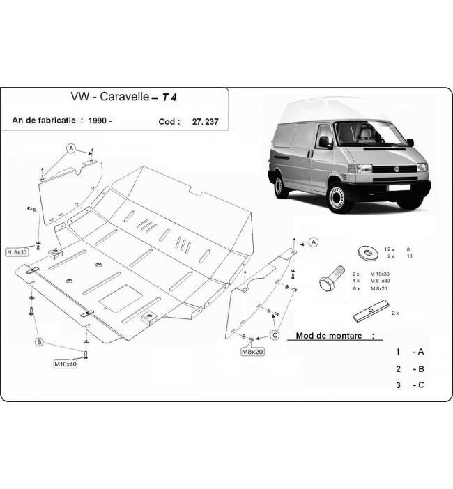 Scut metalic pentru motor si cutia de vitezeze Volkswagen T5 Caravelle
