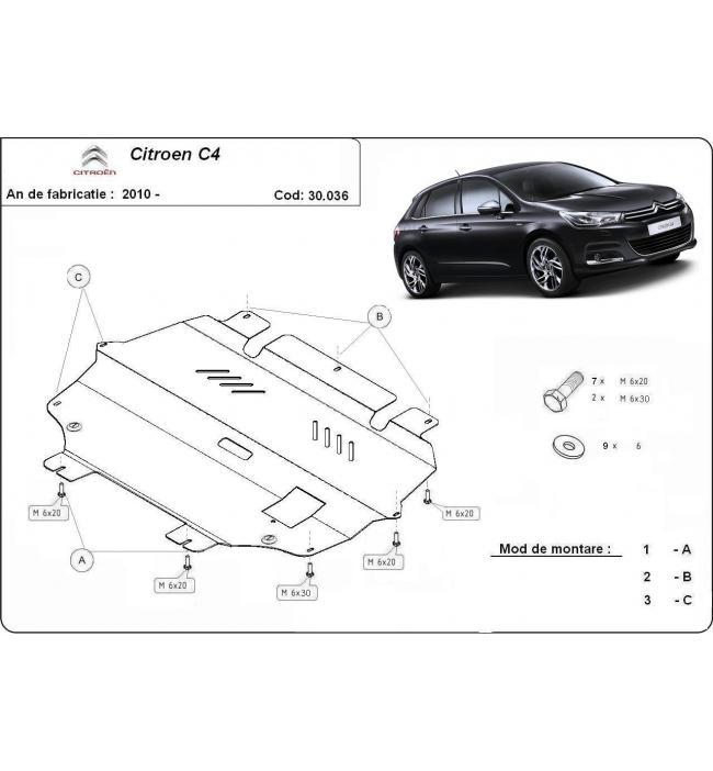 Scut metalic pentru motor si cutia de viteze Citroen C4 2010 2011 2012 2013