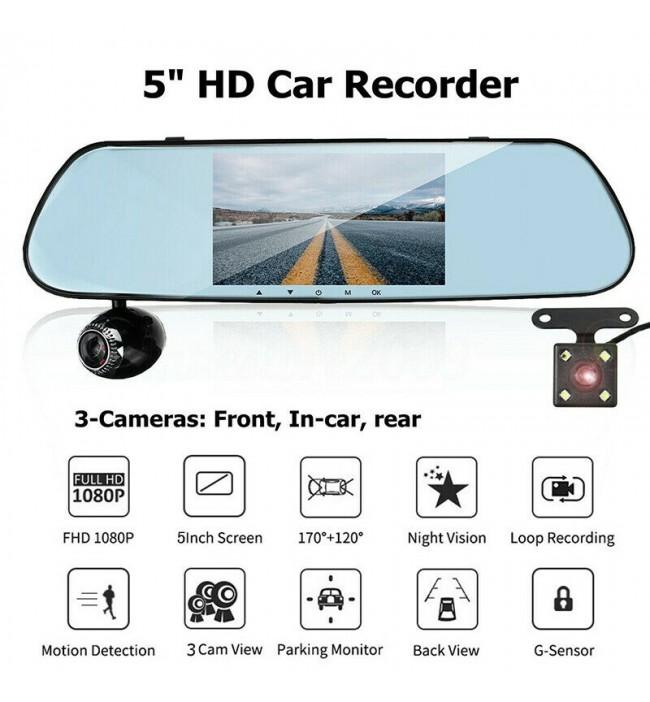 Sistem oglinda 5 DVR cu 3 camere pentru monitorizare auto