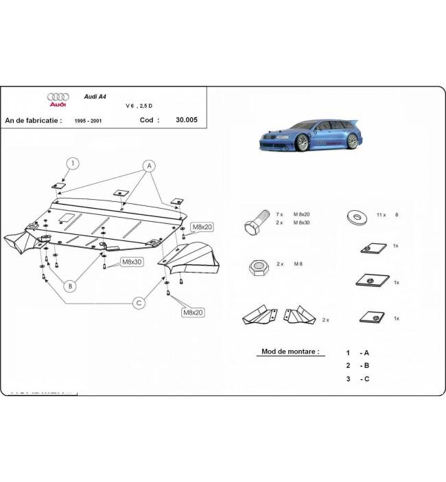 Scut motor metalic Audi A4 1995 1996 1997 1998 1999 2000 2001 V6
