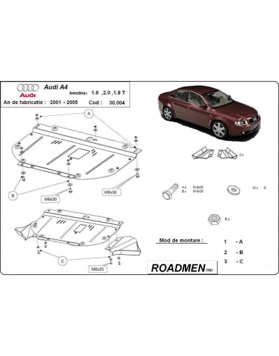 Scut motor metalic Audi A4 2001 2002 2003 2004 2005 bucuresti