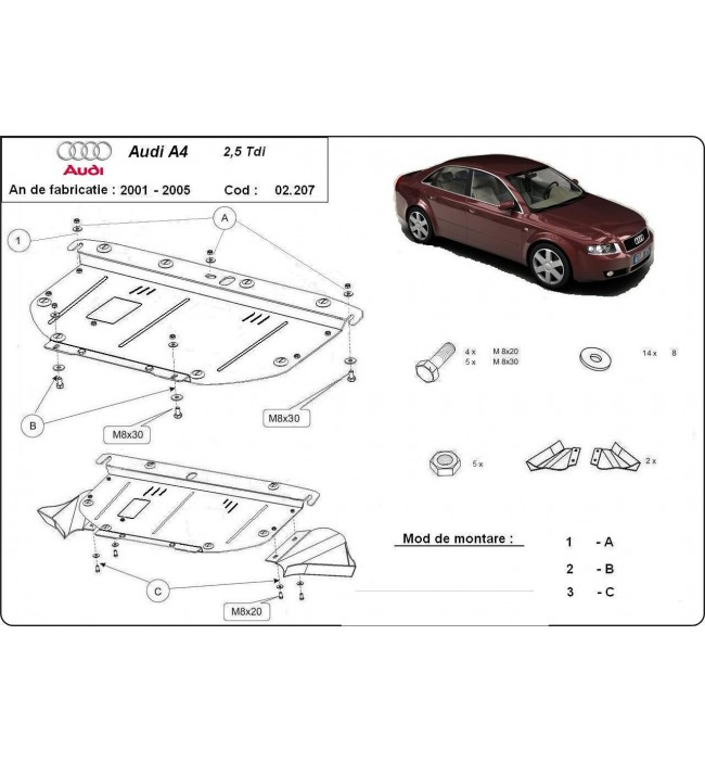 Scut motor metalic frontal Audi A4 2001 2002 2003 2004 2005 2006 2007 2008 (2,5 tdi)