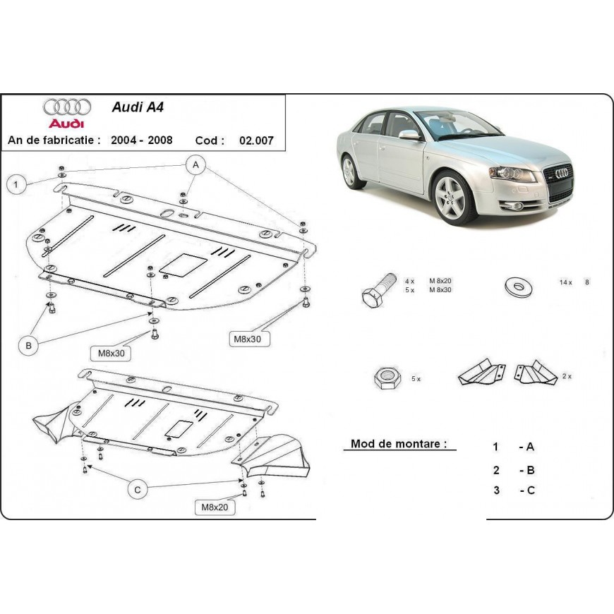 Scut motor metalic frontal Audi A4 2004 2005 2006 2007 2008