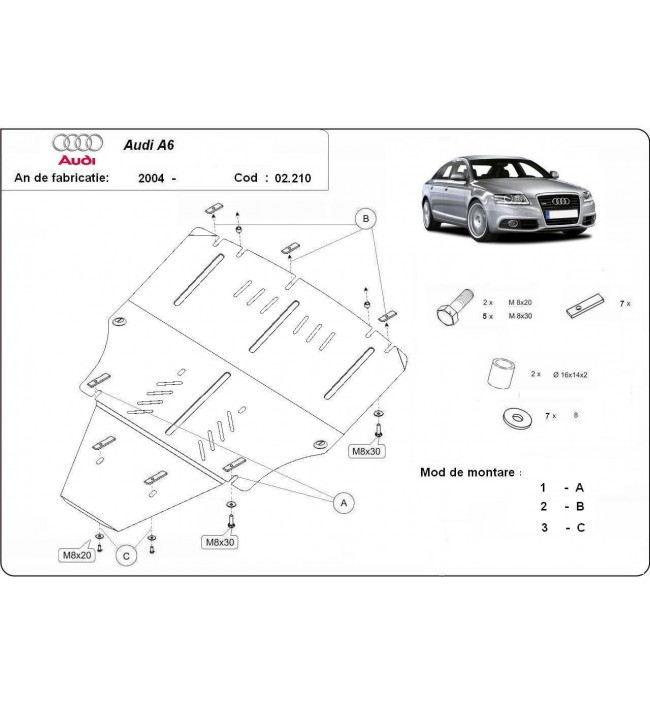 Scut motor metalic Audi A6 2005 2006 2007 2008 2009 2010