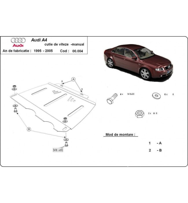 Audi A4 1995 1996 1997 1998 1999 2000 2001 2002 2003 2004 2005 2006 2007 2008 - Scut metalic cutie de viteze manuala