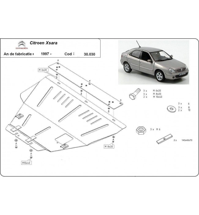 Scut motor metalic Citroen Xsara 1997 1998 1999 2000 2001 2002 2003 2004 2005 2006
