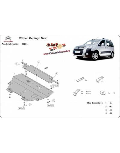Scut auto metalic Citroen Berlingo 2008 2009 2010 2011 2012 2013 2014 2015 2016 2017 2018