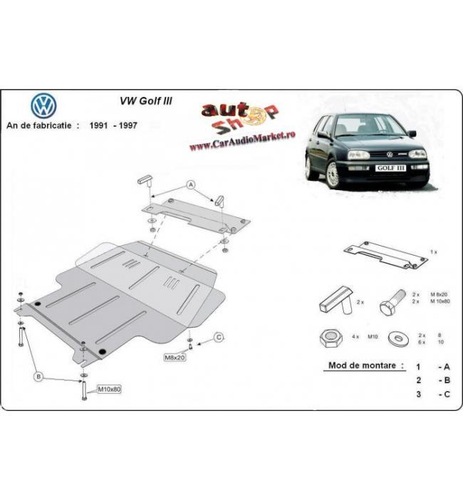 Scut metalic pentru motor si cutia de viteze Volkswagen Golf III