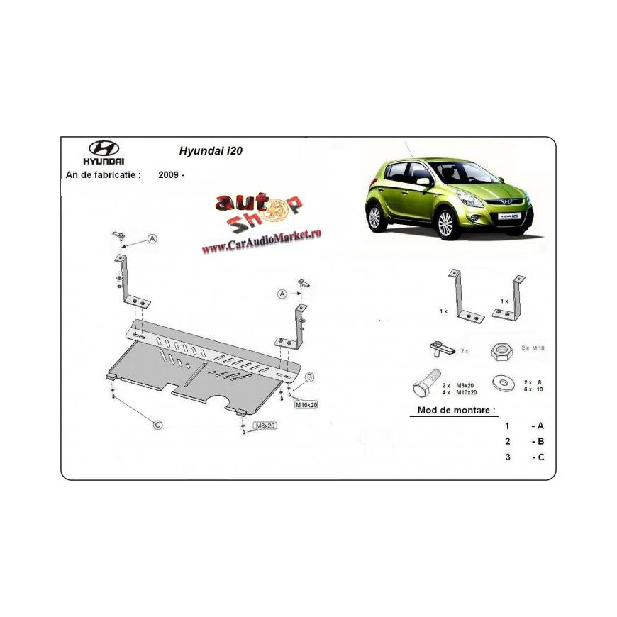 Scut auto metalic pentru motor si cutia de viteze Hyundai I20.
