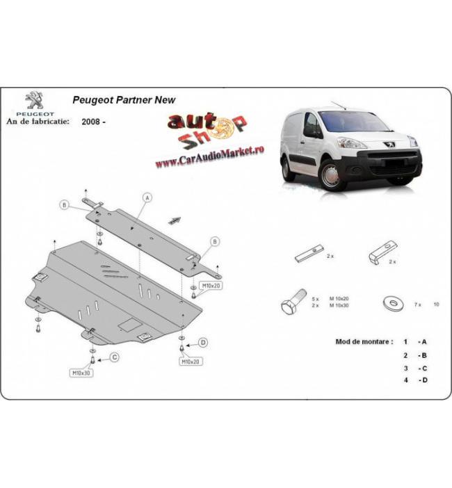 Scut metalic pentru motor si cutia de viteze Peugeot Partner II 2008-