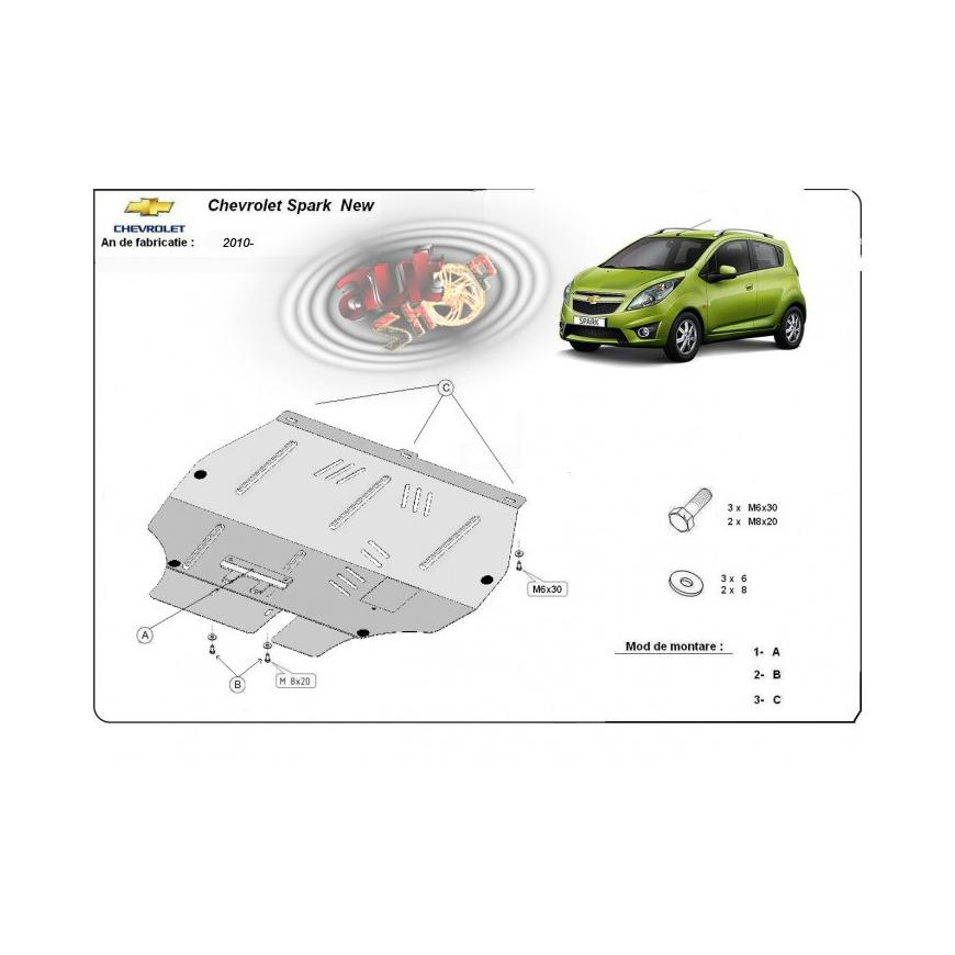 Scut auto metalic pentru motor Chevrolet Spark 2010 2011 2012 2013 2014 2015 2016 2017 2018 2019 2020
